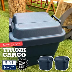 トランクカーゴ 30L NAVY ネイビー 2個セット コンテナ 収納ケース フタ付き 収納ボックス トランク アウトドア キャンプ おしゃれ 大容量 男前 紺色 TC-30NV-2 lily-birch