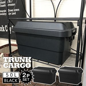 トランクカーゴ 50L BLACK ブラック 2個セット コンテナ 収納ケース フタ付き 収納ボックス トランクボックス アウトドア キャンプ 大容量 男前 黒 TC-50BK-2|lily-birch