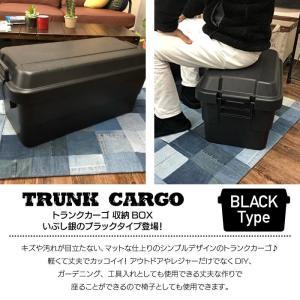 トランクカーゴ 50L BLACK ブラック 2個セット コンテナ 収納ケース フタ付き 収納ボックス トランクボックス アウトドア キャンプ 大容量 男前 黒 TC-50BK-2|lily-birch|03