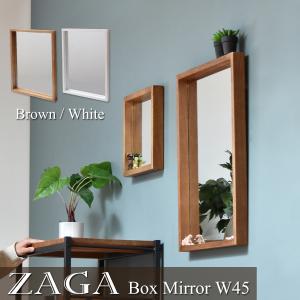 ZAGA 天然木 ボックスミラー 幅45 壁掛けミラー 壁掛け 鏡 木製フレーム アンティーク レトロ ミラー 壁掛けミラー ZAGAシリーズ ZMB-450|lily-birch