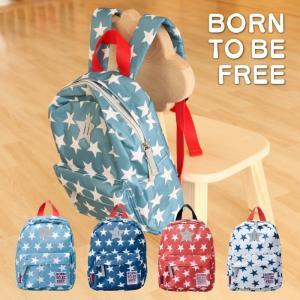 キッズサイズ スター バックパック リュック BORN TO BE FREE 星 バッグ ナイロン リュックサック 子供用 お出かけ 入園 入学 新学期 男の子 女の子 KEYSTONE|lily-birch