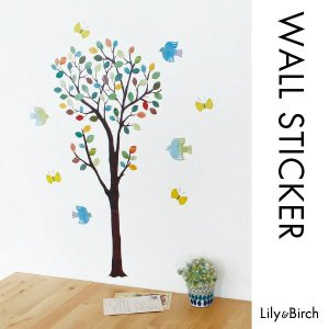 ウォールステッカー  北欧ツリー(S)木 鳥 壁シール ウォールアート 北欧雑貨 装飾シール lily-birch