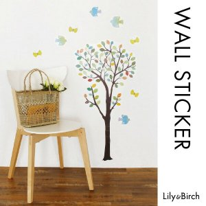 ウォールステッカー  北欧ツリー(L)木 鳥 壁シール ウォールアート 北欧雑貨 装飾シール インテリア雑貨 lily-birch