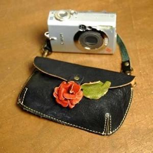 デジカメ ケース 本革 カメラケース 革 バラ ローズ レザー ラブハンズ LH7045