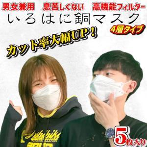 KF94 花粉症対策【5枚セット】GOGO789【FREE SIZE いろはに銅マスク5枚入り 不織布マスク 抗菌 口臭曇らないマスク 立体マスク グレー|lime-shop-japan