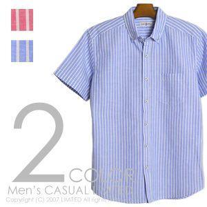 リネンシャツ リネン綿麻ストライプ柄半袖シャツ メンズ 通販M3|limited