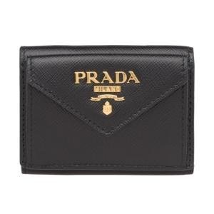 プラダ レター型 三つ折りミニ財布 サフィアーノレザー コンパクトウォレット 1MH021 QWA ...