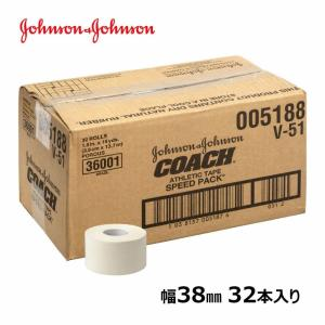 ジョンソンエンドジョンソン J&J コーチ 非伸縮 固定 テーピングテープ 38mm x 13.7m 32本 箱 ジョンソン&ジョンソン LINDSPORTS リンドスポーツ|lindsp