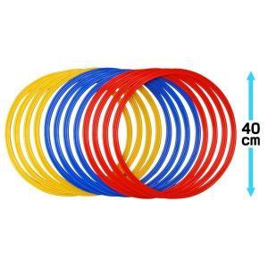 ●サイズ:直径40cm ●赤/青/黄の各色4個ずつ12個のセットです。 各リングは厚めになっており、...