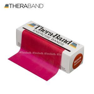 セラバンド TheraBand 赤 レッド ミディアム トレーニングチューブ バンドタイプ 標準サイズ 合計5.5m 6ヤード LINDSPORTS リンドスポーツ