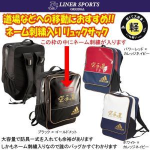 名前が刺繍ではいる アディダス 空手道 リュックサック バックパック バッグ 超軽量 ライナースポーツオリジナル|liner