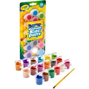 クレヨラ お絵かき 水でおとせるキッズ絵の具 18色 ミニセット ブラシ付き Washable Kid's Paint 18 Colors 540125|lineshonpo