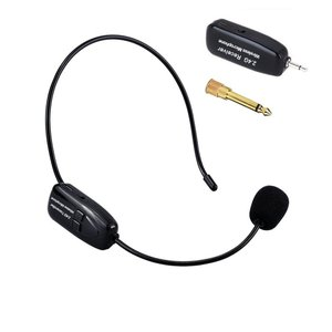 Tmei 2.4G ワイヤレス マイク ヘッドセット ヘッドセットマイク ロフォン ステージ ポータブル拡声器 高音質 無線 軽量 3.5 mmステレオミニプラグ ブラック (ブ lineshonpo