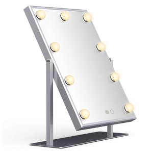 Wonstart 女優ミラー 化粧鏡 ハリウッドミラー 9個LED電球付き 360度回転 2種ライトモード 明るさ調節可能 卓上 LEDミラー (シルバー)|lineshonpo