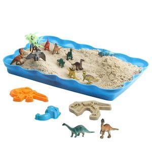 恐竜の砂場 砂遊びおもちゃ 砂場セット 砂セット 室内砂場 砂粘土おもちゃ 手を汚さない 12恐竜置物 20型抜き 付きサンドボックス|lineshonpo