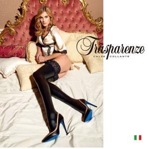 【Trasparenze(トラスパレンツェ)】 ALLEN AUTOREGGENTE インポート柄物タイツ つま先スルー シリコンストッパー付き フェイクレザー ガータータイツ|lingerie-felice