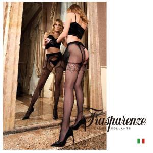 【Trasparenze(トラスパレンツェ)】 EFESTO STRIP-PANTY インポート柄物タイツ つま先補強タイプ ガーターベルト付き フィッシュネット 柄タイツ|lingerie-felice