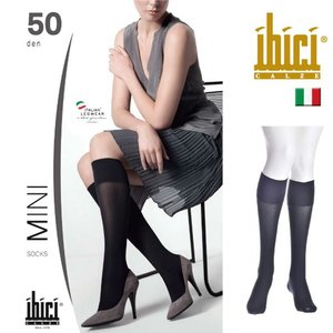 ibici【イビチ】MINI 50 GAMBALETTO オールシーズン 幅広バンド 50デニール つま先スルー ハイソックス|lingerie-felice