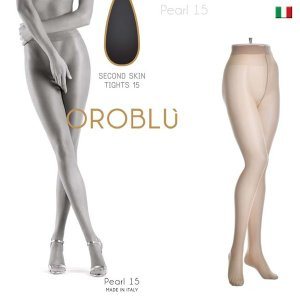 【OROBLU】(オロブル)  Pearl 15  SECOND SKIN インポートタイツ  15デニール 極薄ストッキング ストッキングオールスルー コットンガゼット シアーマット|lingerie-felice