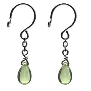 ニップル用ファッションリング チェコガラス 雫 オリーブグリーン 乳首リング 乳首 アクセサリー ピアス|lingerlet