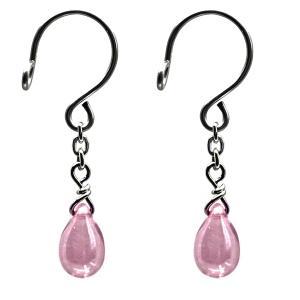 ニップル用ファッションリング チェコガラス 雫 ピンク 乳首リング 乳首 アクセサリー ピアス|lingerlet
