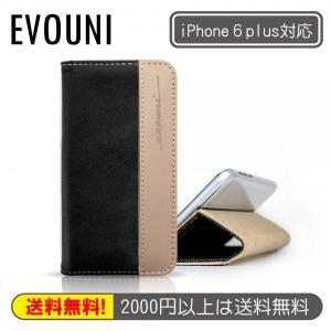 ■ワンコイン100円!! ■innowatt Lightning cableのオマケ付き!! EVOUNI iPhone 6 Plus対応 布とカウレザーの手帳型ケース K66-9BK ブラックナノ|linksdirect