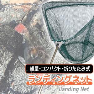 網 釣具 タモ網 魚 釣り 伸縮 折りたたみ式 ランディングネット 釣り網 柄 玉網 フィッシング ワンタッチ たも網|linofle
