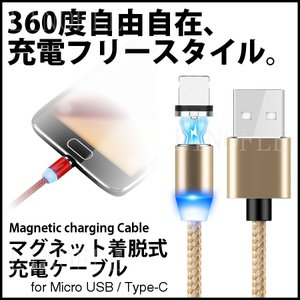 マグネット充電ケーブル iPhone スマホ ケーブル 充電器  着脱式 丸型 micro USB Type-C ライトニング 1m 絡み 断線 防止 磁石 LEDライト 円形|linofle