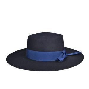 広つばレディース・フェルト マタドールハット 秋冬 婦人 女性 つば広 紺 ネイビー 帽子|lion-do