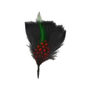 帽子の羽根飾りA/黒(赤いドット・差し色グリーン)|lion-do