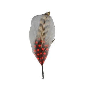 帽子の羽根飾りK/グレー(赤いドット・差し色ブラウン)|lion-do