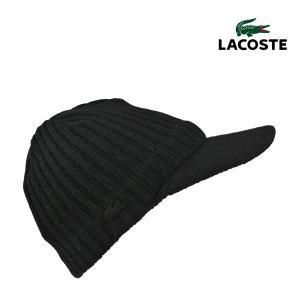 7602ff385dbf1a ラコステ・ラムウール・キャスケットL7038/LACOSTE 秋冬 ブランド 送料無料 メンズ レディース つば付きニット帽 小さいサイズ 黒 日本製