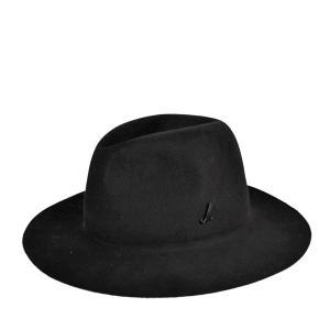ミュールバウアー・ビーバーフェルト・フェドラハット 高級 ブランド 秋冬 広つば 黒 ブラック レディース 婦人 帽子|lion-do