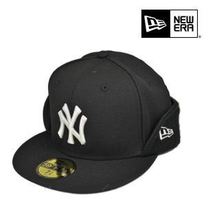ニューエラ・59fifty・フリップダウンキャップ・ウールツイル・ブラック/NEW ERA 耳あて 小さいサイズ 大きいサイズ 帽子|lion-do