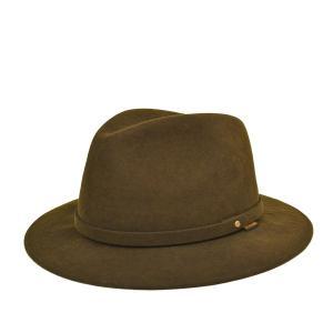 ステットソン・たためる広つばウール中折れハット・撥水加工 ブラウン 茶 インディジョーンズ 59cm 帽子|lion-do