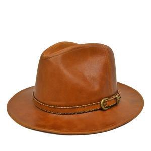 ステットソン・本革レザー中折れハット/STETSON メンズ 紳士 58cm 60cm ブラウン 茶 広つば 送料無料 帽子|lion-do