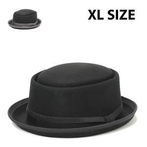 ポークパイハットパットンXL メンズ レディース 秋冬 大きいサイズ 黒 ブラック 59cm 60cm 61cm 帽子|lion-do