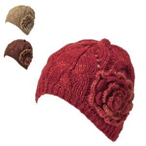 ニットワッチ・フラワー 秋冬 レディース 女子 お花 コサージュ かわいい ハンドメイド ニット帽 帽子|lion-do