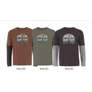 BRP CAN-AM SPYDER クーパー ロングスリープ Tシャツ 男性用 サイズL ブラウン|lirica-store