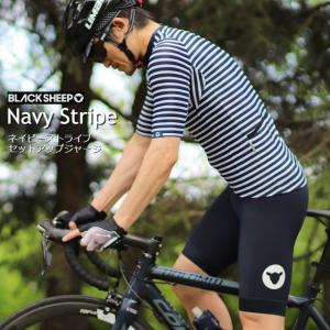サイクルジャージ  BLACK SHEEP CYCLING  ブラックシープ 「ネイビーストライプ」セットアップ サイクルウェア/おしゃれ/プレゼント/夏/メンズ|liten-up