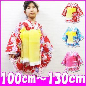 浴衣ドレス/超激安/豪華薔薇&レースフリル帯付き浴衣ドレス3点セット/100/110/120/130/SALE商品(41582)2014SM|little-angel