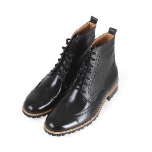 メンズブーツ カントリー ウイングチップ メダリオン 本革 靴 ウィングチップ ワークブーツ fa1118|little-globe|03