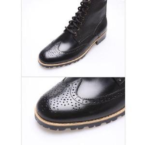 メンズブーツ カントリー ウイングチップ メダリオン 本革 靴 ウィングチップ ワークブーツ fa1118|little-globe|04