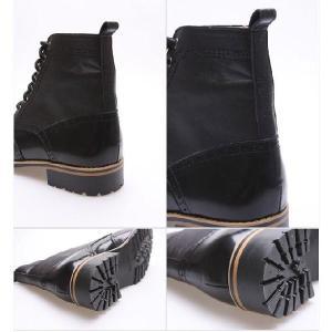 メンズブーツ カントリー ウイングチップ メダリオン 本革 靴 ウィングチップ ワークブーツ fa1118|little-globe|05