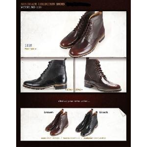 メンズブーツ カントリー ウイングチップ メダリオン 本革 靴 ウィングチップ ワークブーツ fa1118|little-globe|06