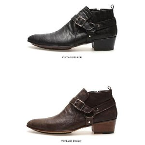 ブーツ メンズ アンクル ショート バックル ヒール高 靴 fa4776q|little-globe|04