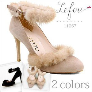大きいサイズ 靴 レディース パンプス高級感たっぷりのミンクファー付 le11067 2013 新作|little-globe