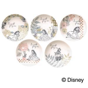 5種類のデザインの小皿セットです。乳白色の柔らかい色合いの磁器に、パステルカラーの線画のデザインが大...