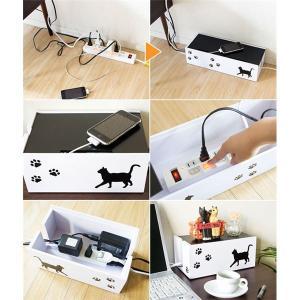 猫のケーブルボックス(コード収納/ケーブル収納) 小 幅30cm 黒猫(ねこ)柄 保護クッション付き 〔完成品〕|little-trees|02