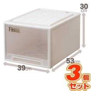 (3個セット) クローゼット収納/衣装ケース 〔幅39cm×高さ30cm〕 レギュラーサイズ 『Fits フィッツケース』 日本製